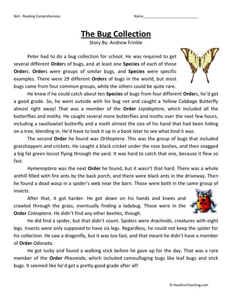 5th Grade Reading Comprehension Worksheets With Answers by Reading Comprehension Worksheet The Bug Collection