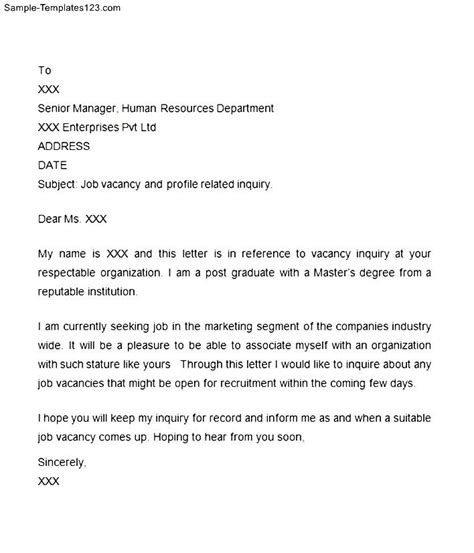 Cover Letter Inquiry Vacancy Letter Of Inquiry Sle Templates