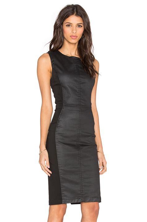 Kr378 Denim Dress 1 lyst level 99 coated denim mini dress in black
