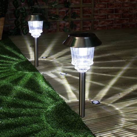 solar lights solar garden stake path lights high power led 2 pack