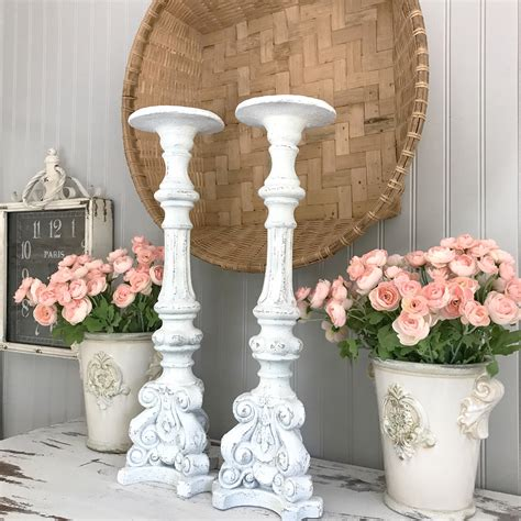 shabby chic candle holders tall pillar candlestick white