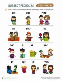 subject pronouns for kids worksheet education com