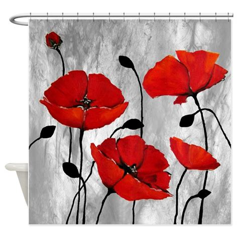 poppy colored curtains red poppies shower curtain by simpleshopping