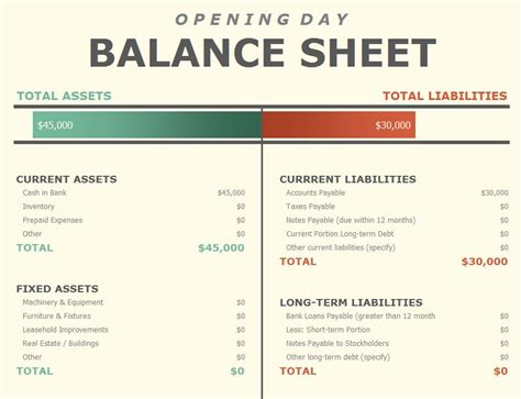 Asset And Liabilities Search Opening Day Spreadsheet Opening Day Template