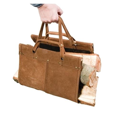 Fireplace Log Tote by Firewood Log Tote Brown Leather Fireplace Tools