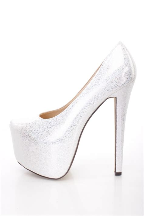6in high heels white holographic platform 6 inch high heels faux leather