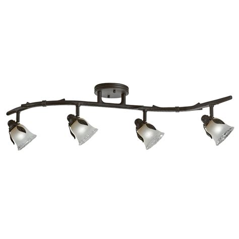 Bronze Track Lighting Fixtures Shop Portfolio Branches 4 Light 33 12 In Olde Bronze Dimmable Standard Track Bar Light Kit Fixed