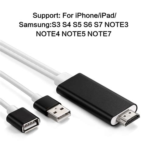 Fuf Lightning To Hdmi Cable Support Iphone X hd mirroring cable iphone android lightning to hdmi adapter hdtv display adaptor ebay