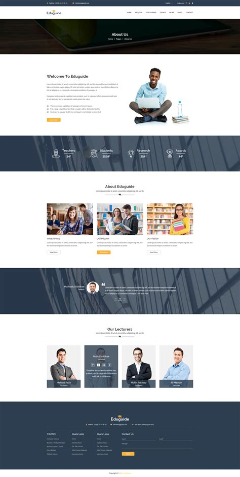 Eduguide Education Psd Template By Shopify Themes Themeforest Shopify About Us Page Template