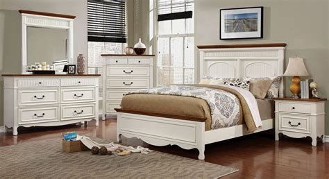 galesburg white and oak bedroom set cm7040q furniture of