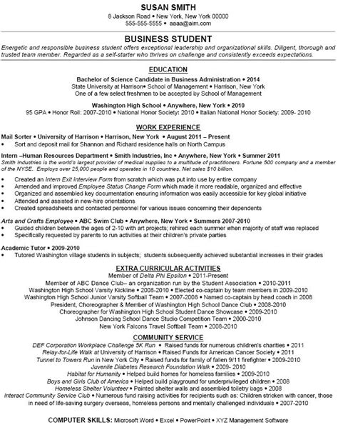 Resume Exles Business Student Exle Extracurricular Activities Dfwhailrepair Resume Student Resume
