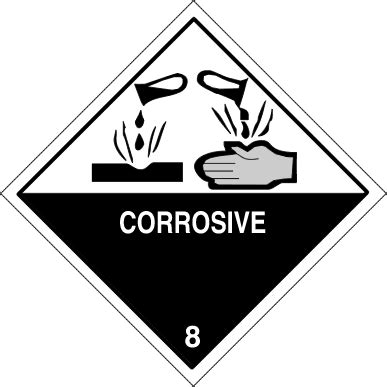 Label Sticker Dg Foto class 8 corrosive hazard labels