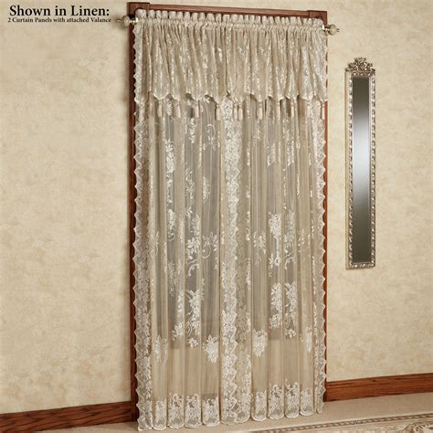 lace curtains with attached valance easy style carly lace curtain panel with attached valance