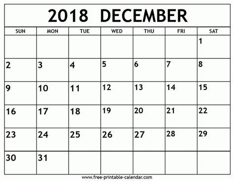 printable calendar for december 2018 printable monthly calendar december 2018 yspages com