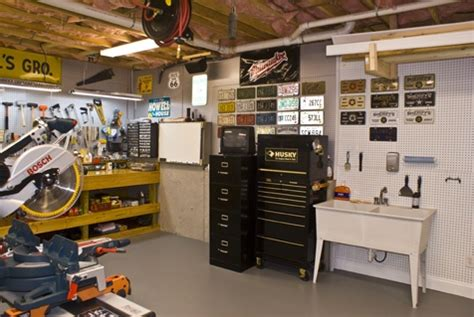 home workshop basement designs and license plates on