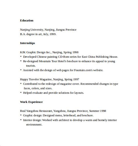 Resume Format Pdf For Graphic Designer sle graphic design resumes 7 free documents