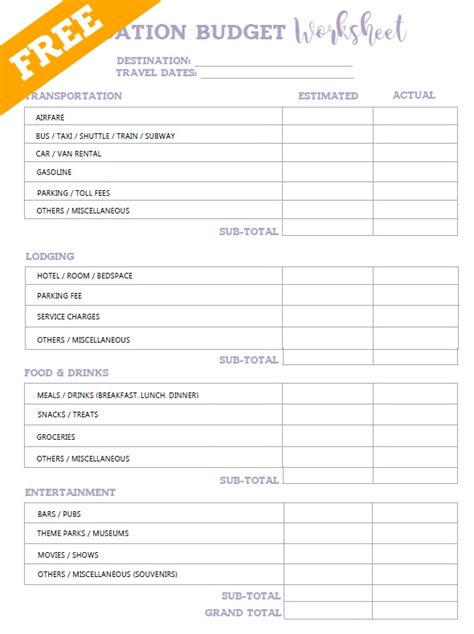 search results for printable budgeting worksheets