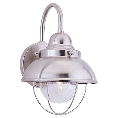 Seagull Light Fixtures Sea Gull Lighting Sebring 1 Light Brushed Stainless Outdoor Wall Fixture 8870 98 The Home Depot