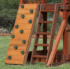 swing set steps wooden playset with playhouse swing