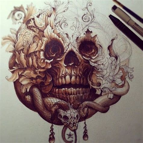 badass tattoos tumblr skull snake pencil pen shading amazing