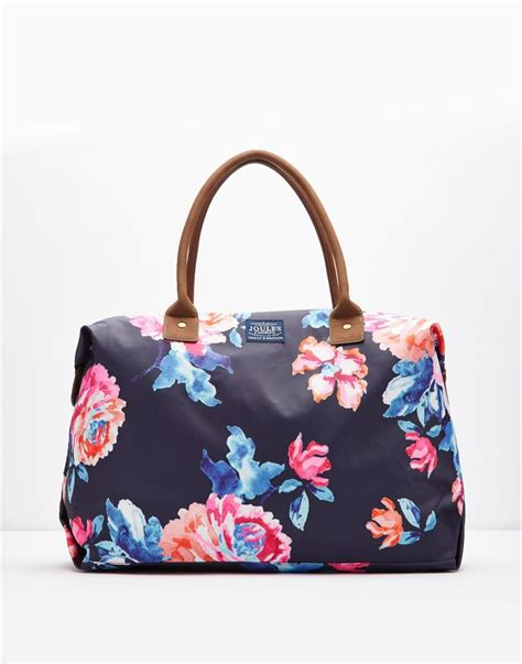 Handbags Wallets C 1 21 by Kembry Navy Printed Canvas Overnight Bag Size One