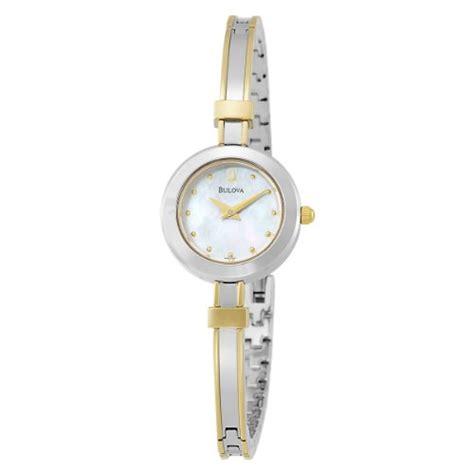 Bulova Women s 98L120 Two Tone Bangle Bracelet Mother of Pearl Dial Watch   Bradley Phillipper