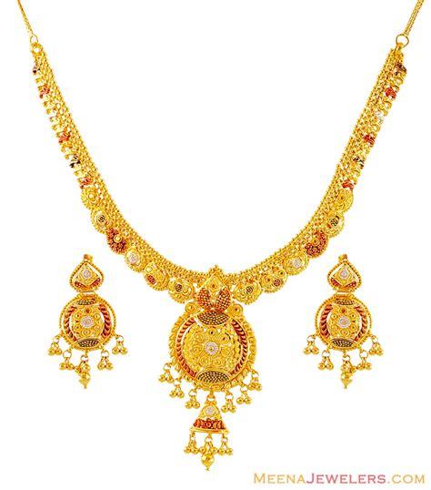 gold three tone necklace set stgo16072 22k gold
