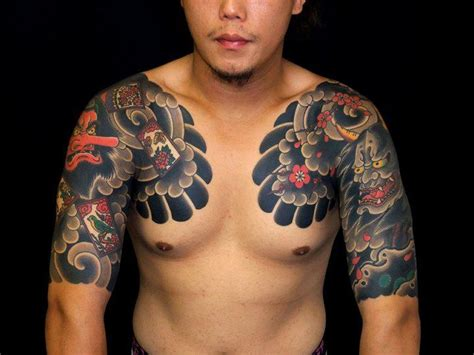 oriental tattoo on chest asian short sleeve and chest tattoo badass tattoos