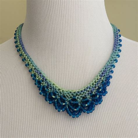 knitted beaded necklace knit necklace using rayon and matte glass