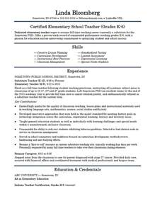 elementary resume template elementary school resume template