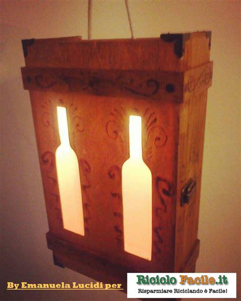 cassette per vino cassetta per vino in legno trasformata in ladario