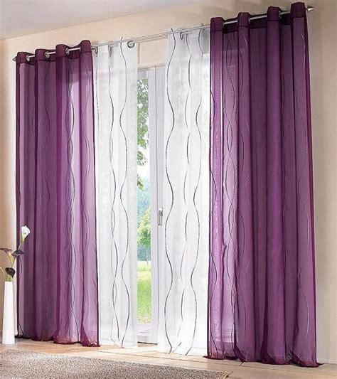 Vorhang Lila by 2 St Voile Gardine Vorhang 140 X 245 Wei 223 Lila Bestickt