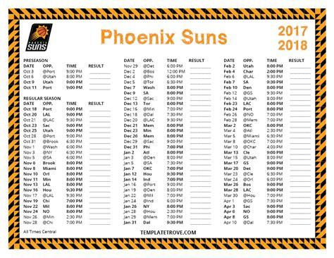 printable suns schedule printable 2017 2018 phoenix suns schedule