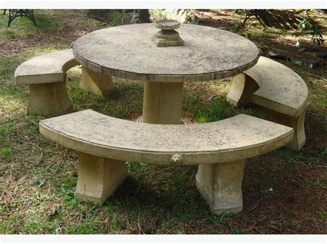 concrete table and 3 benches youbou cowichan