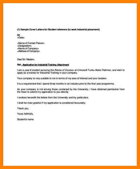 Industrial Placement Cover Letter by Business Letters College Application Letter Us