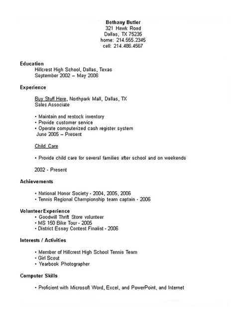 High School Senior Resume by Exles Of Senior High School Resumes Experience Resumes