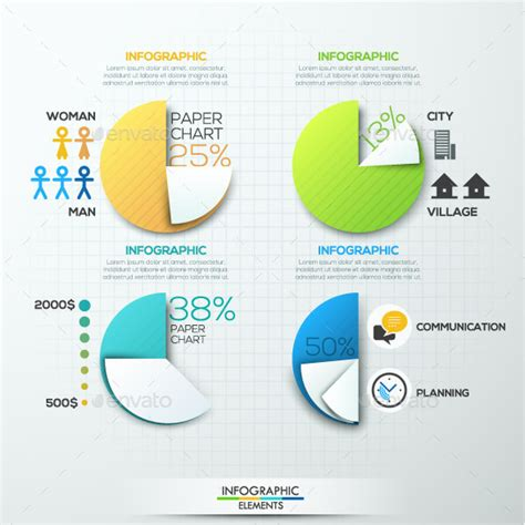 How To Make A Pie Chart On Paper - modern infographic paper pie charts by andrew kras