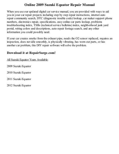 service manuals schematics 2009 suzuki equator free book repair manuals 2009 suzuki equator repair manual online