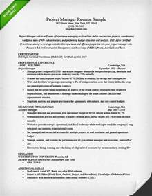 Construction Project Manager Sle Resume by Project Manager Resume Sle Writing Guide Rg