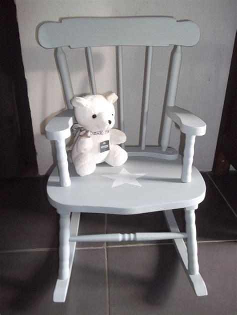 fauteuil enfant bois fauteuil rocking chair en bois patine gris bleu avec etoile pour enfant chaises 224 bascule