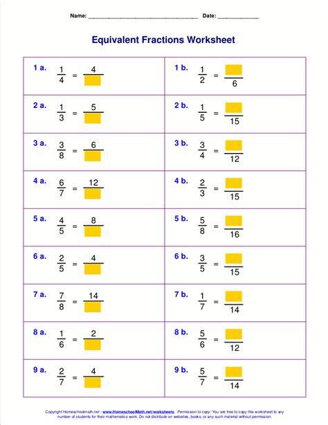 Fractions Grade 5 Worksheets by Equivalent Fractions Coloring Pages