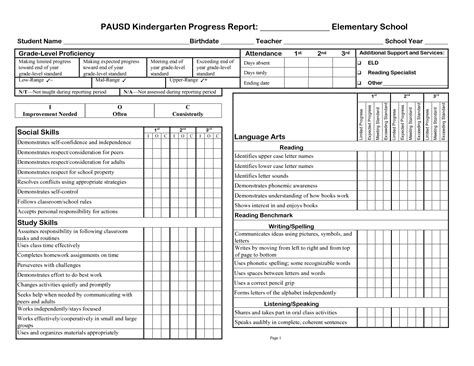 Elementary Report Card Template Free by 3rd Gradeprogress Report Template Pausd Kindergarten