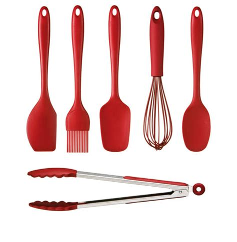 Red Kitchen Tools - funky red 6 piece silicone kitchen utensils tools set cooking bright colours ebay
