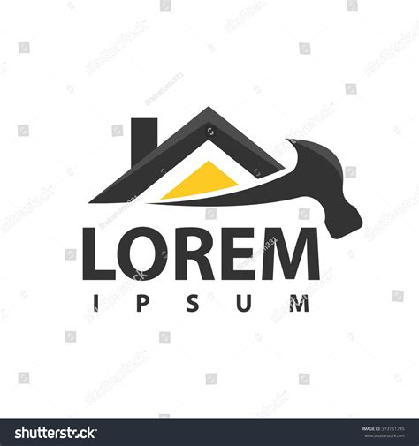 house repair logo tools icon roof stock vector 373161745
