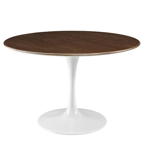 Lippa 47 Quot Round Walnut Top Dining Table With Lacquered Circular Dining Table