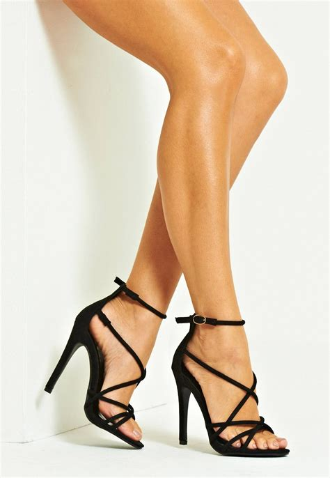 black high heels with straps april multi stiletto black high heels