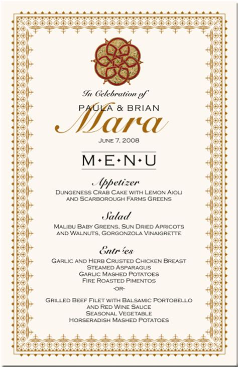 Indian Wedding Menu Card Ideas