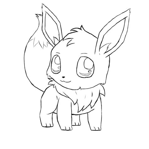 cute pokemon coloring pages eevee eevee chibi lines by typhloser on deviantart