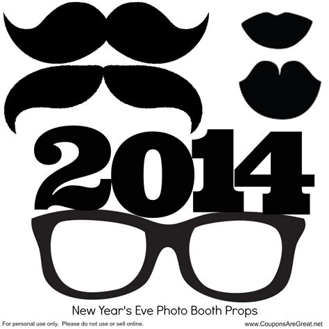printable photo booth props new year diy project make your own new years eve photo booth props