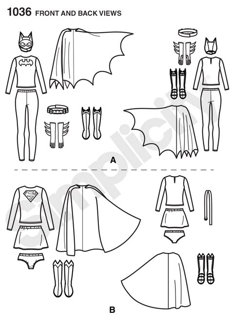 pattern review best patterns 2015 simplicity 1036 misses supergirl and batgirl costumes